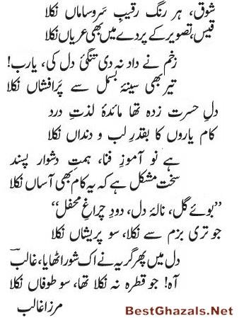 Ghalibs Shayari Famous Ghazal Jo Teri Bazm Se Nikla So Pareshan
