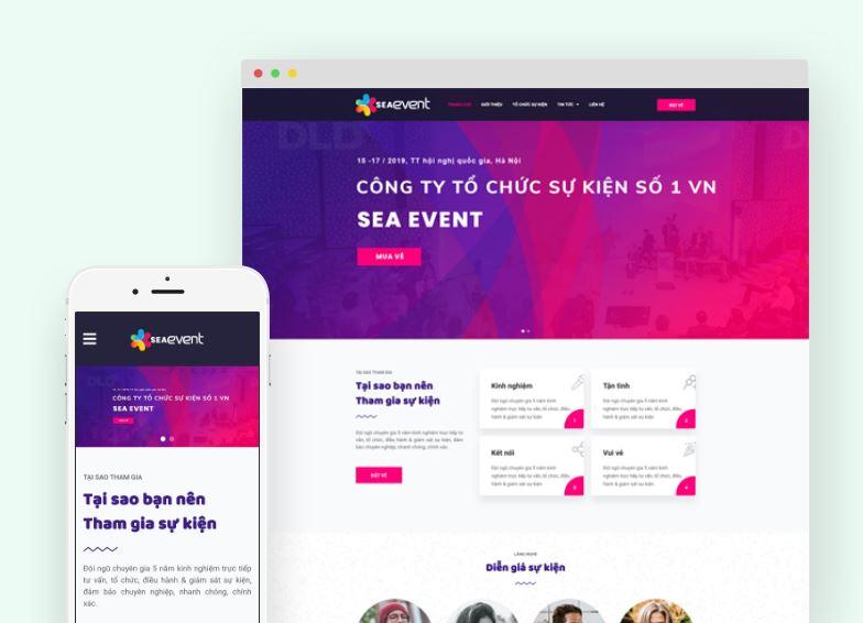 Theme Sea Event là giao diện landing page chuyên biệt về tổ chức các sự kiện