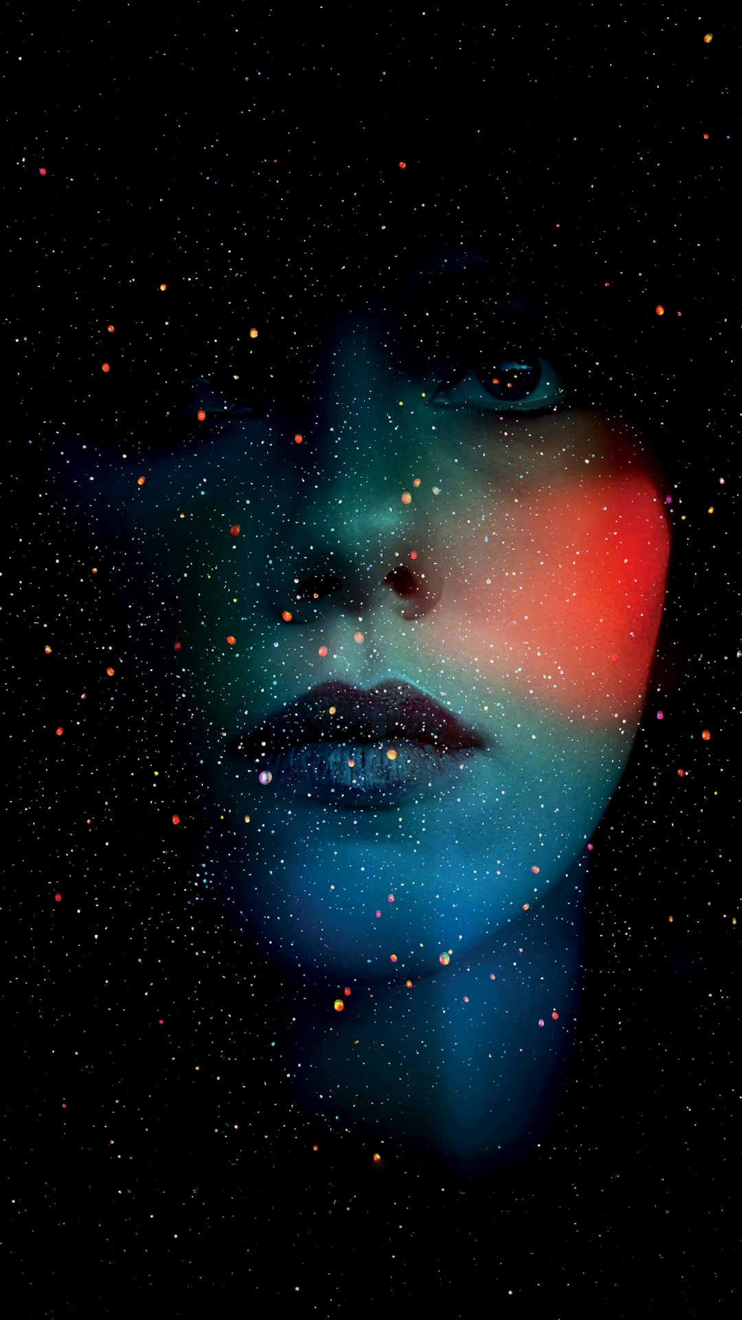 Starry women face mobile wallpaper