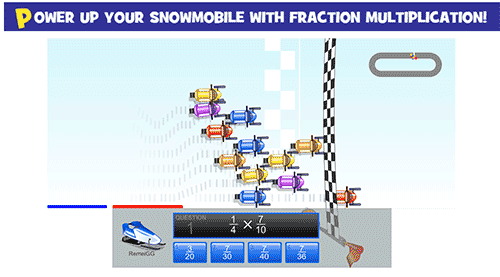Snowmobile game with fraction multiplication