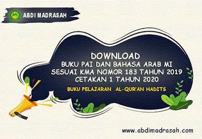 Download Buku Pelajaran Al-Qur'an Hadits MI Cetakan 1 Tahun 2020