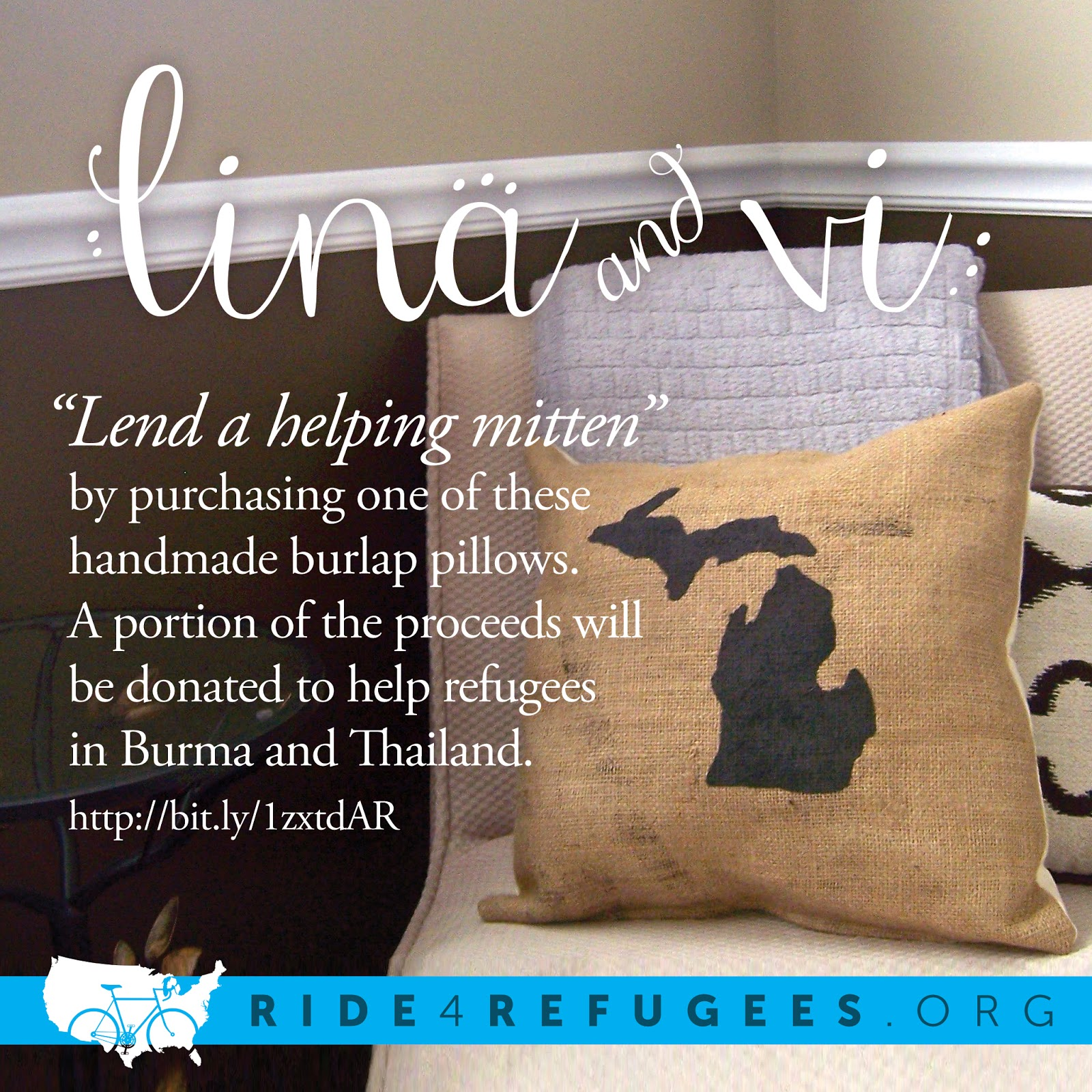 Lending a Helping Mitten - Charity Burlap State Pillow - Lina and Vi