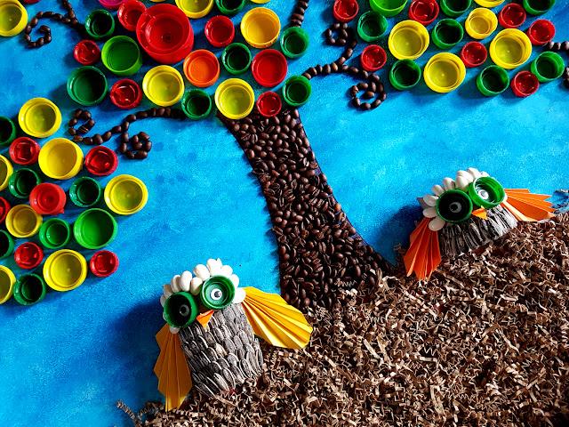prace plastyczne - jesień - liście - jesienne drzewo - drzewo z nakrętek - sowy z rolek po papierze toaletowym - Światowy Dzień Drzewa - 10 października - święto drzewa - drzewo z ziarenek kawy