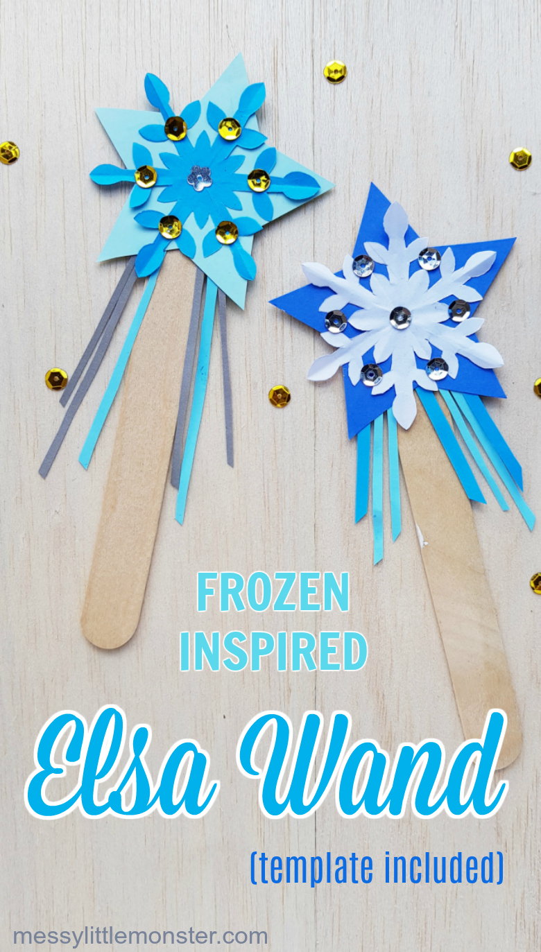 Frozen Elsa magic wand craft. Make your own wand with this easy Frozen paper craft.
