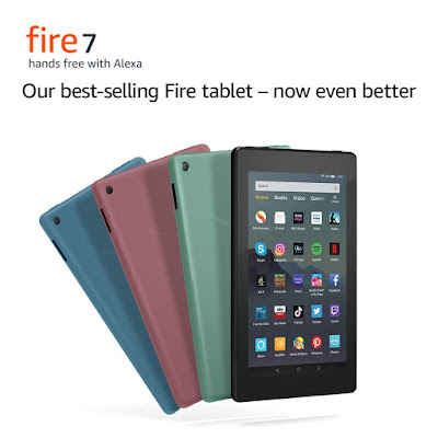 Amazon Fire 7 Tablet Colours - black, plum, sage, twilight blue.