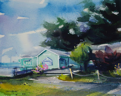 A watercolor painting of the shoppes in Olcott NY