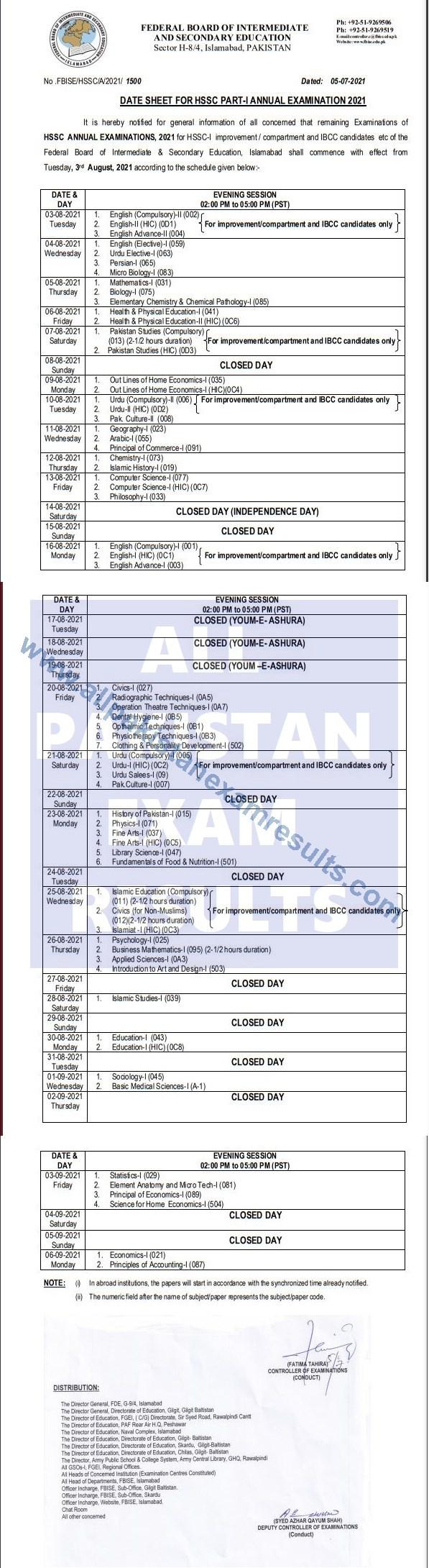 Federal Board Date Sheet HSSC Part 1 Annual Exam