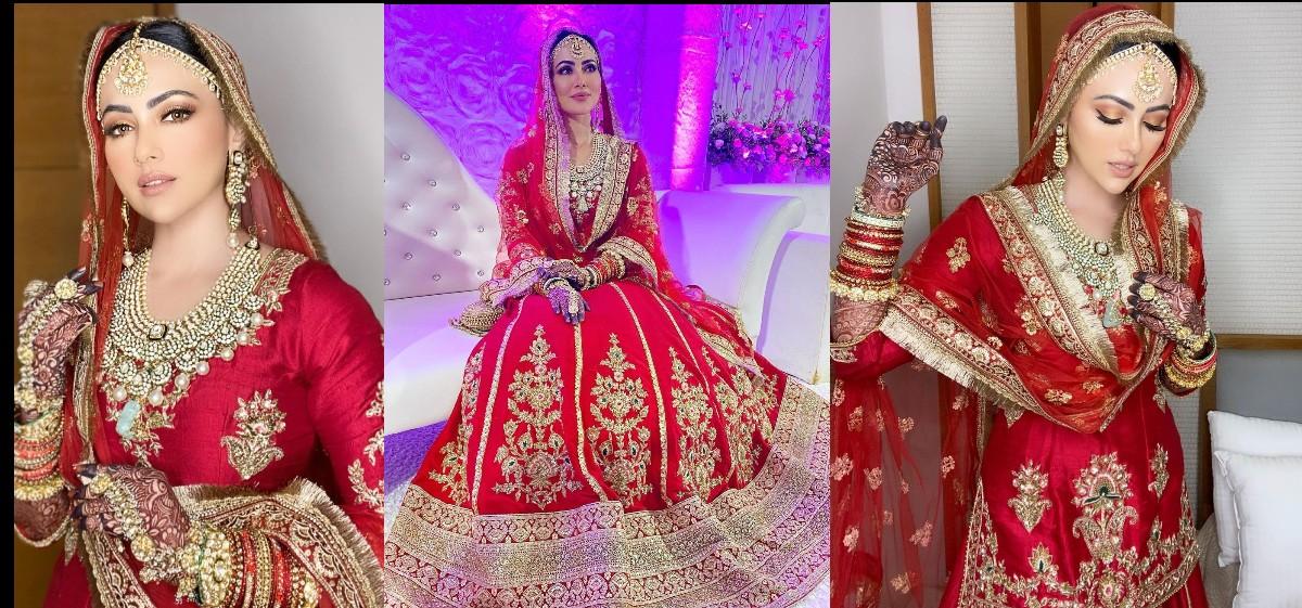 Celebrities Weddings: Sana Khan changes name post wedding, see more pictures of her bridal look
