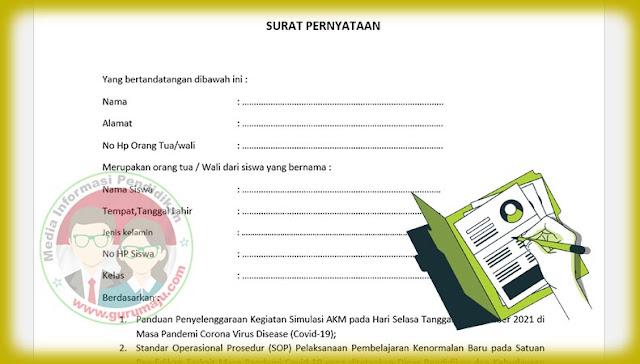 Download Surat Pernyataan Orang Tua Untuk Mengikuti AKM