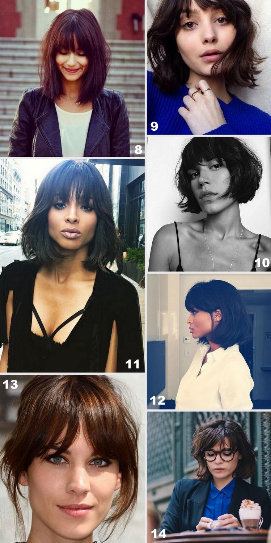 Corte de cabelo bob e long bob com franja. Fotos de cabelos curtos com franja.
