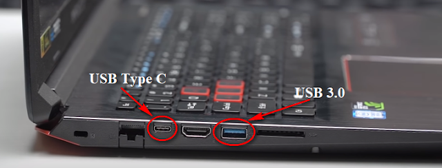 Cổng USB trên laptop