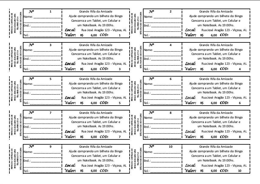 Formato De Hoja De Rifa De 100 Numeros Imagui - boletos de rifas para imprimir gratis