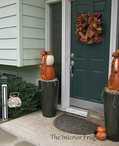 Traditional Faux Stacked Pumpkin Topiaries