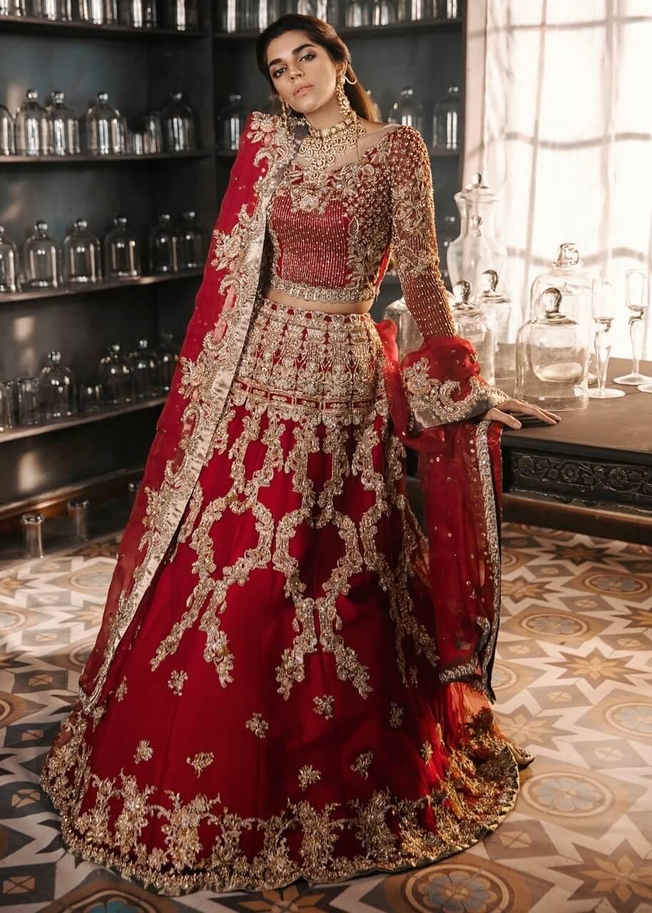 Sadaf Fawad Khan Studio Red Bridal Lehenga
