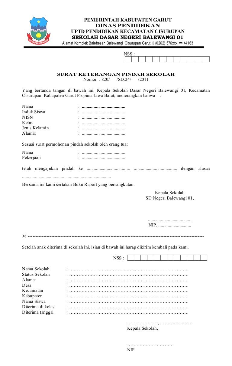 contoh surat pindah sekolah - wood scribd indo