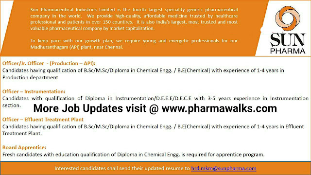 Sun Pharma urgent job openings for Freshers and Experienced in Production/ ETP/ Instrumentation/ Apprenticeship