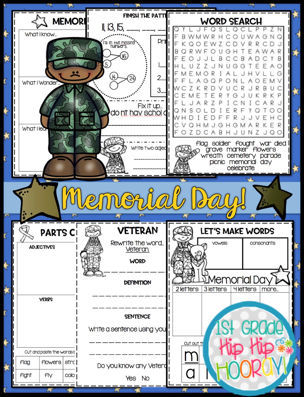 1st Grade Hip Hip Hooray Memorial Day Per Pencil Or