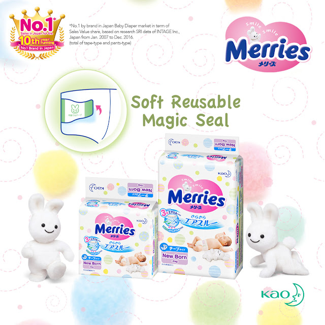 Merries Tape Diaper Soft Reusable Magic Seal