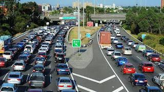 Freeway showing peak period traffic flow
