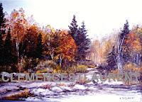Sentier au bord de l'étang, 12 x 16 - forêt d'automne par Clémence St-Laurent