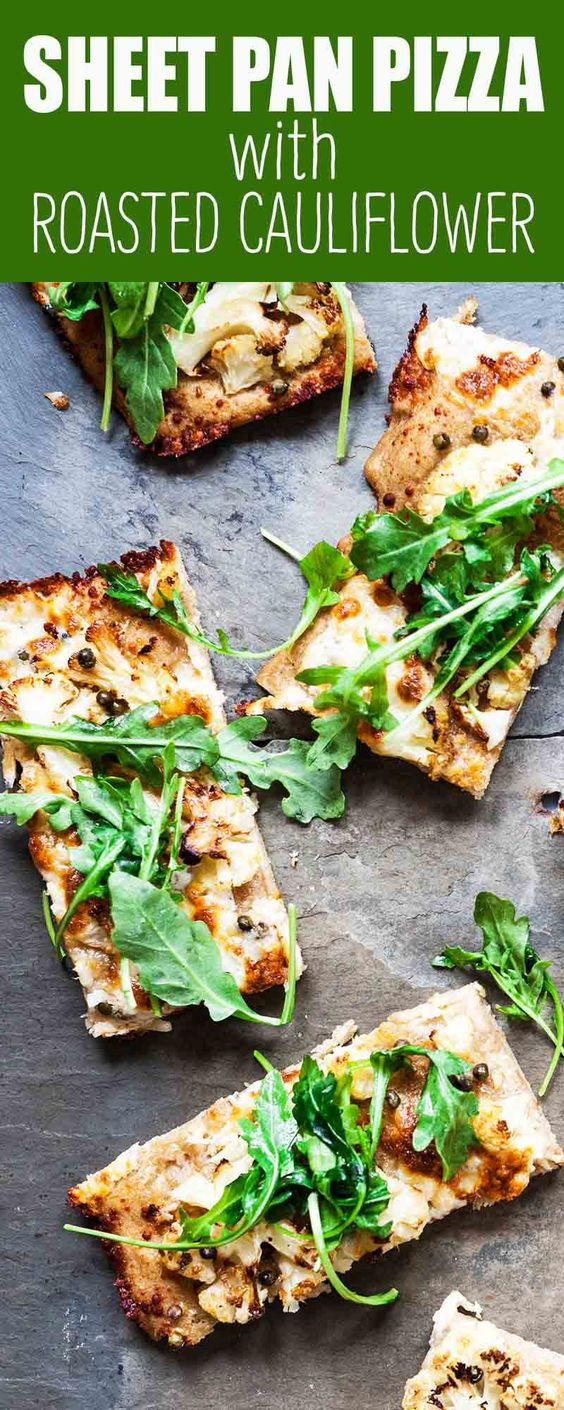 Sheet Pan Pizza with Roasted Cauliflower and Greens Recipe