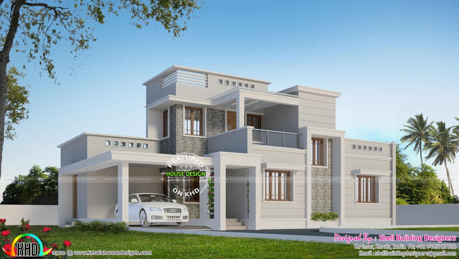 Beautiful box type modern home kerala home design and for Modern box house design
