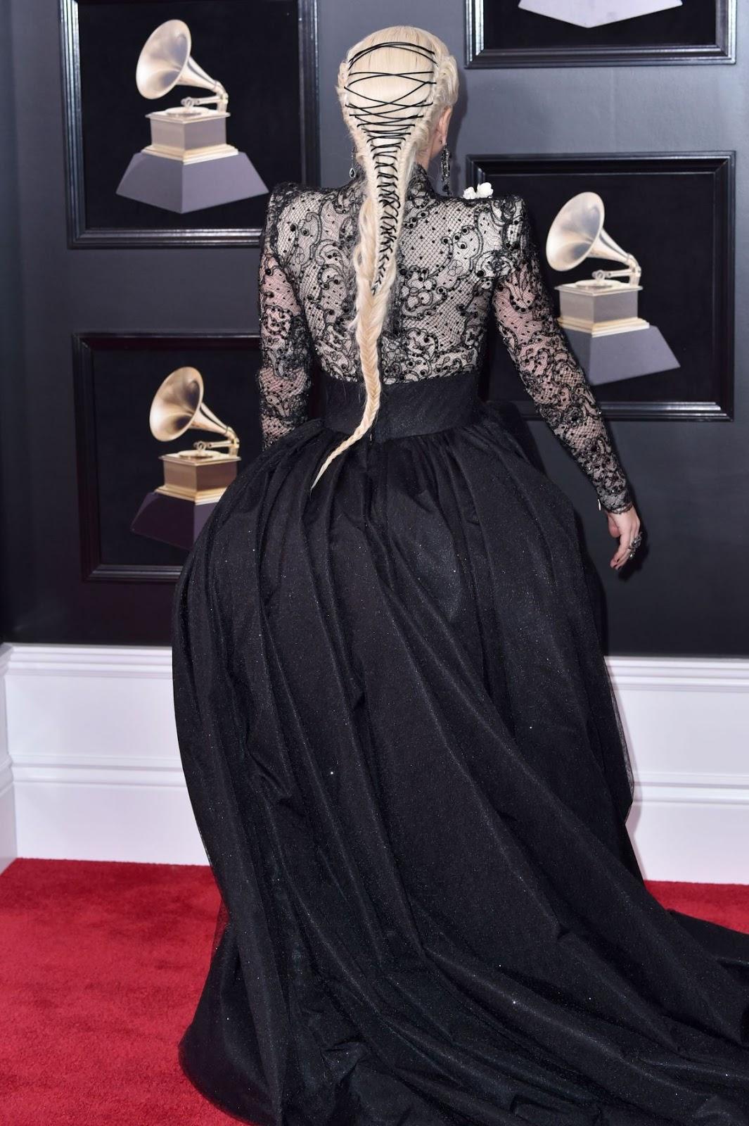 Lady Gaga flaunts dramatic ballgown at the 2018 Grammy Awards