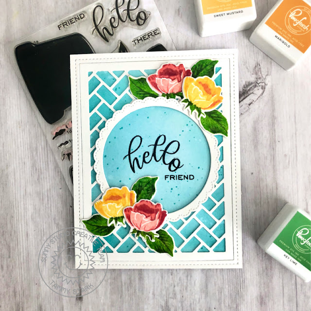 Sunny Studio Stamps: Potted Rose Frilly Frame Dies Fancy Frame Dies Friendship Card by Tammy Stark