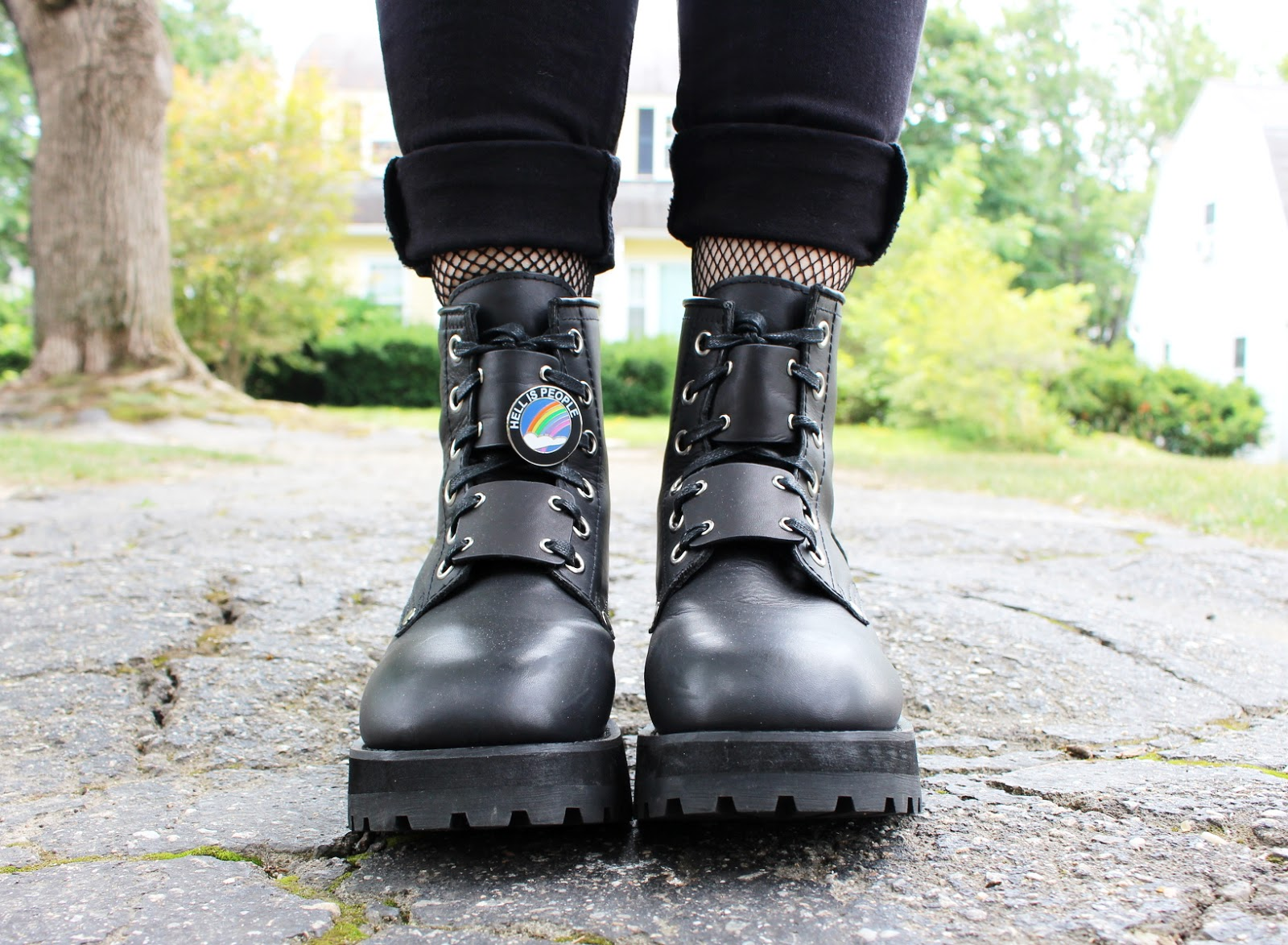 unif dedi boots, hell is people pin