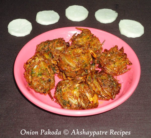 prepared shallow fried  onion pakoda