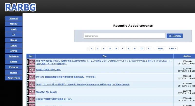 RARBG uno dei più popolari siti torrent