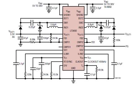 Dual Input Single 3.3V/4A Output Step Down Converter