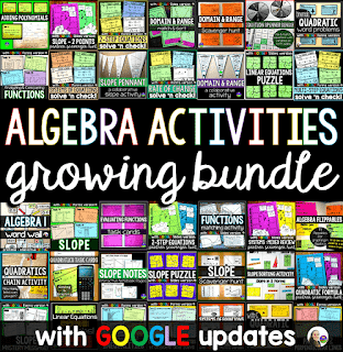 Algebra Activities Bundle with digital updates for distance learning