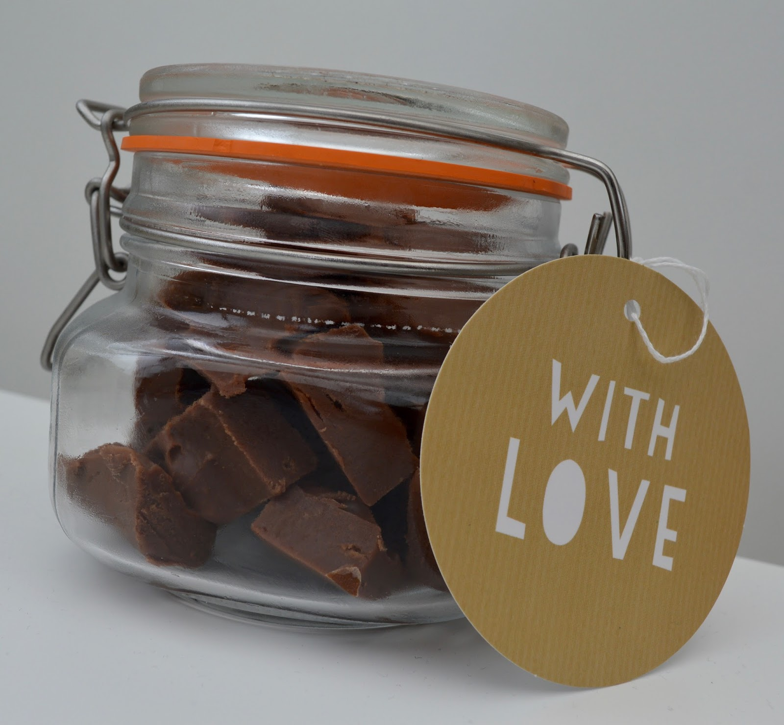 Terry's Chocolate Orange Slow Cooker Fudge Recipe - A Homemade & Edible Christmas Gift  - finished result presented in a mason jar with gift tag