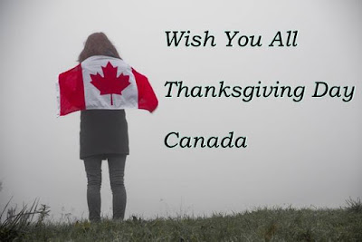 Wish you all thanksgiving day Canada text with a girl holding Canada flag on back.
