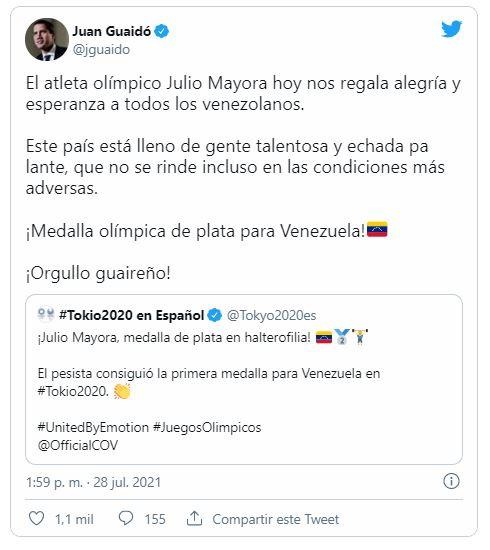 Juan Guaidó feliz porque un pesista chavista se ganó una medalla en las Olimpiadas