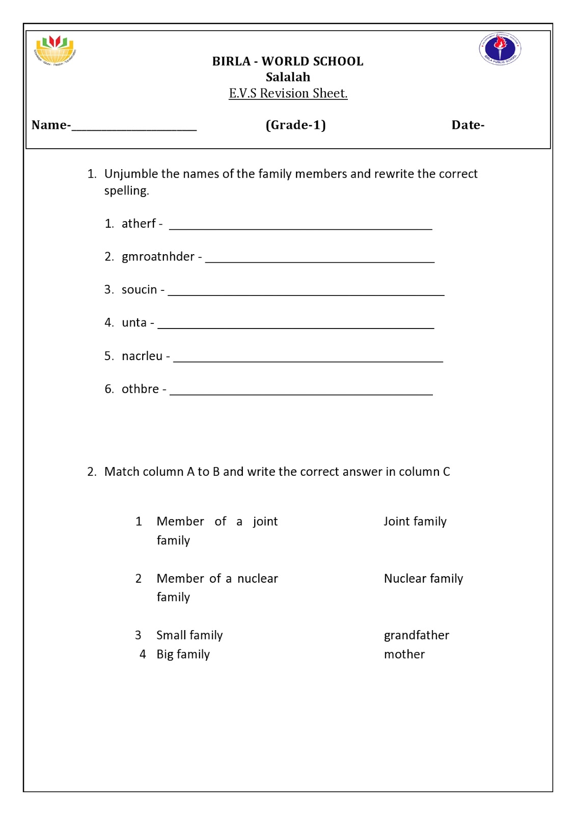 Worksheet Homework For Grade 1 birla world school oman homework for grade 1 b and d on 180816 180816