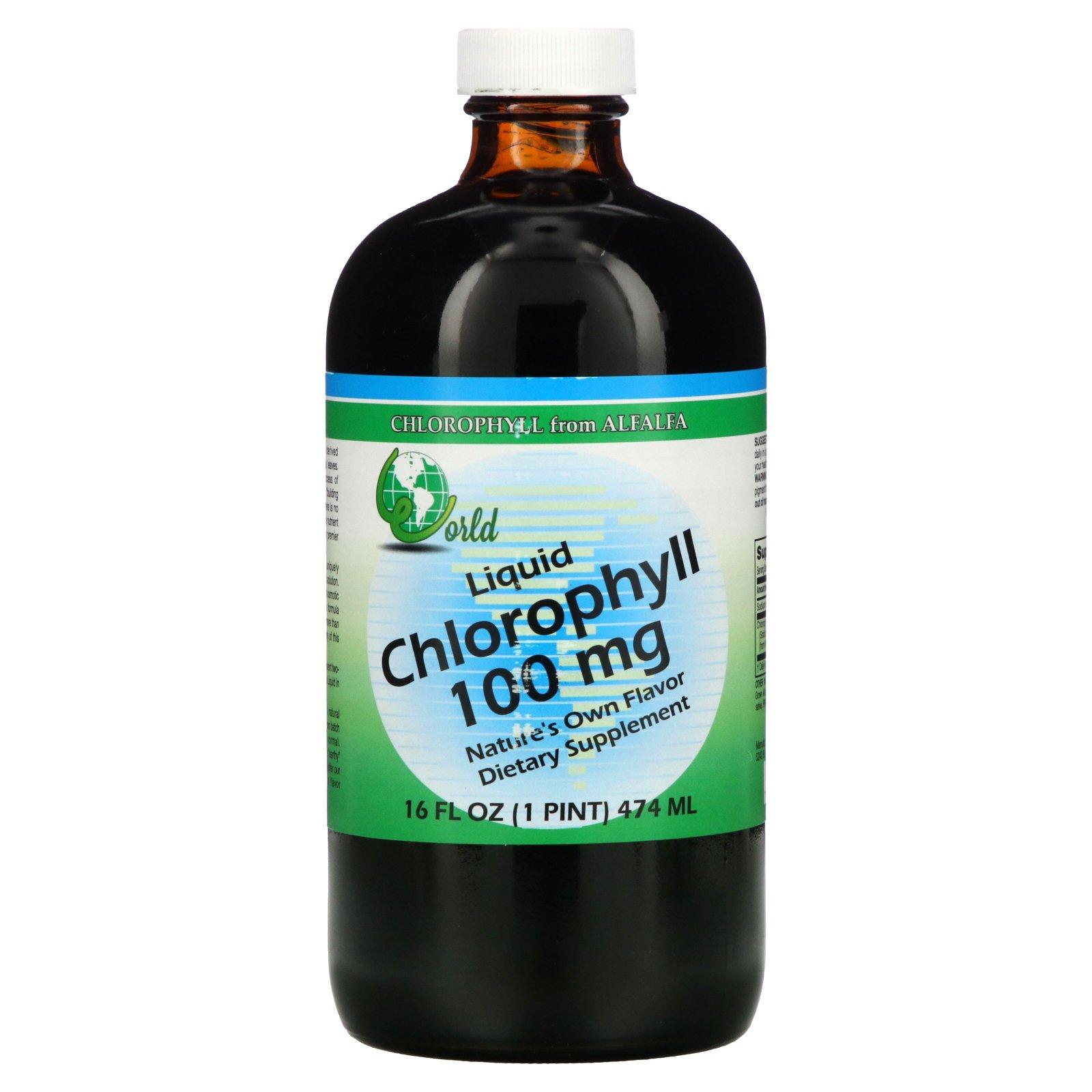 World Organic, жидкий хлорофилл, 100 мг, 474 мл (16 жидк. унций)