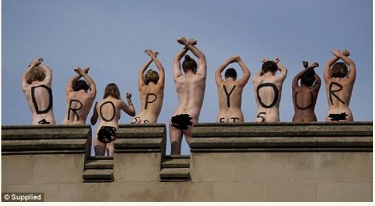 3 Photos: University students strip naked to protest school policy