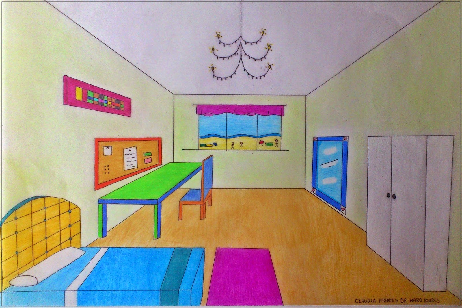 Comp s y color perspectiva c nica for Dormitorio para dibujar facil