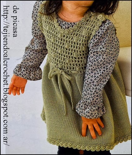 Vestido de niña a Ganchillo