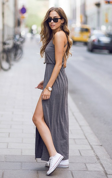 vestido de moda casual gris