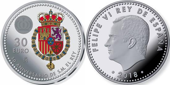World Coin News Spain 30 Euro 2018 50th Anniversary Of