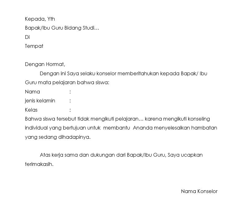 Surat pemberitahuan guru mengikuti proses konseling