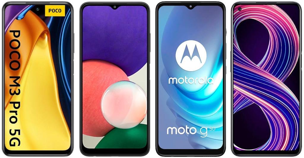 Xiaomi POCO M3 Pro 5G vs Samsung Galaxy A22 5G vs Motorola Moto g50 vs Realme 8 5G