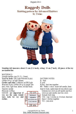 knitted doll, knitted raggedy doll