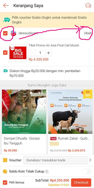 Halaman Troli/ Keranjang Belanja Saya di Marketplace Shopee.