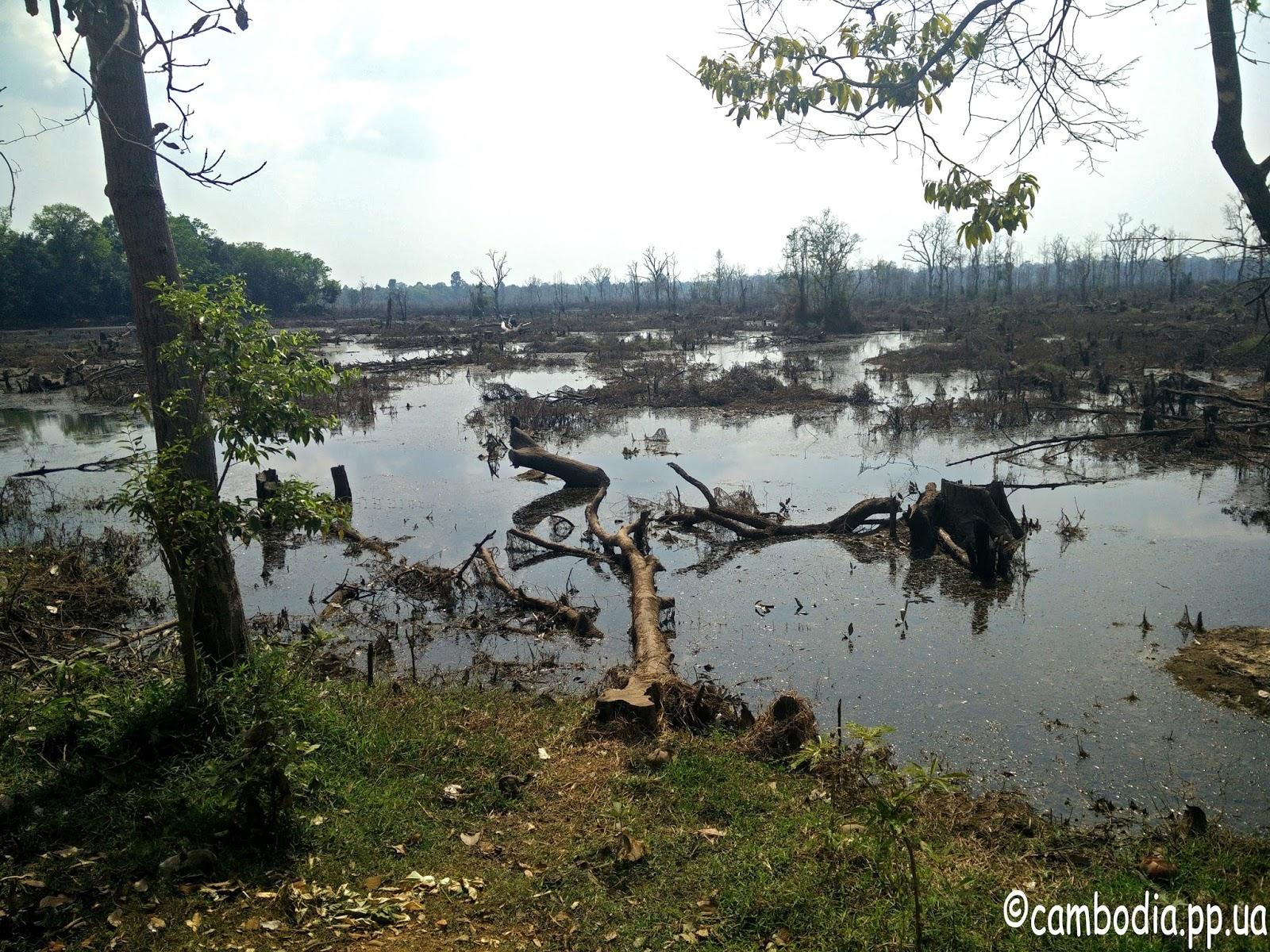 Обмельчавшее озеро возле храма Ник Пин