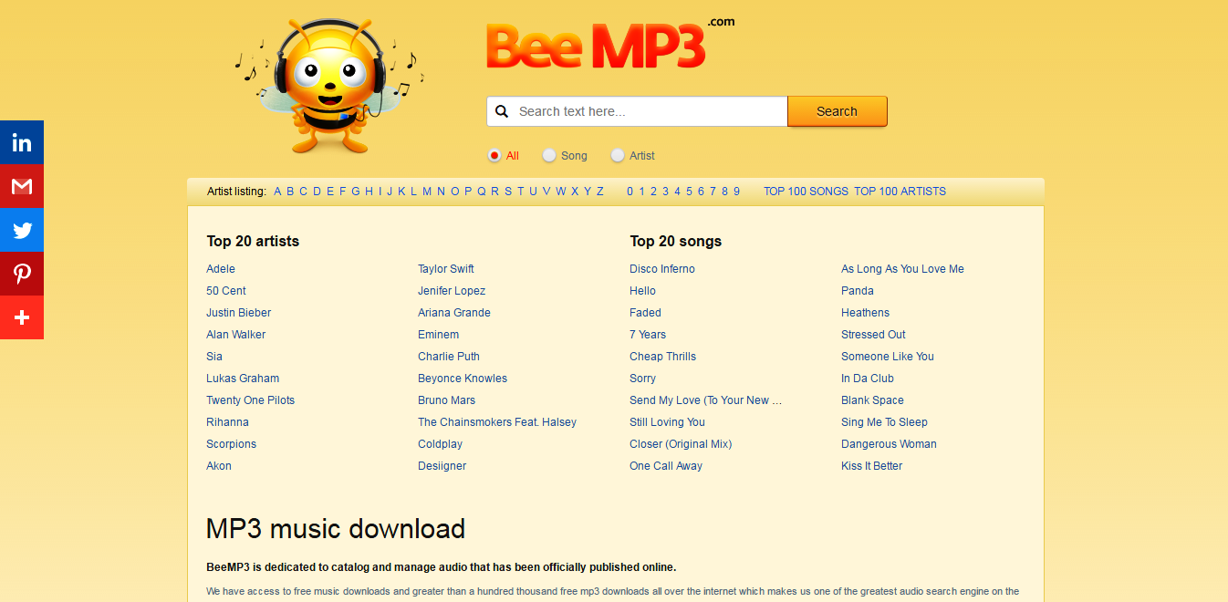 bee mp3 is the best free mp3 download site