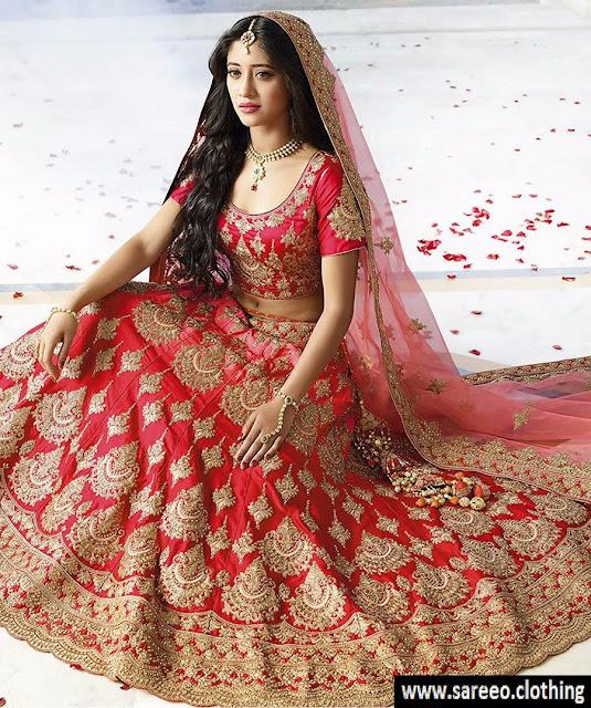 Red Heavy Taffeta Silk Designer Lehenga